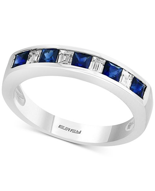 EFFY Collection Gemstone Bridal by EFFY® Sapphire (5/8 ct. t.w.) & Diamond (1/4 ct. t.w.) Band in 18k White Gold