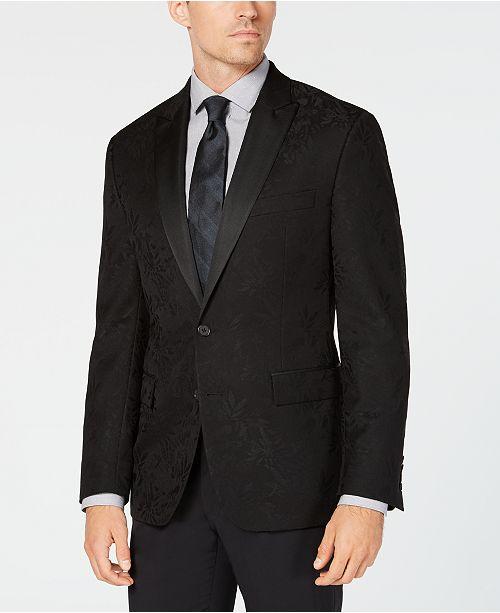 Ryan Seacrest Distinction Men's Modern-Fit Stretch Black Floral Jacquard Dinner Jacket, Created for Macy's