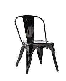 Stackable Indoor Outdoor Armless Metal Chair in Black