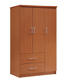 3-Door Armoire with 2-Drawers, 3-Shelves in Cherry