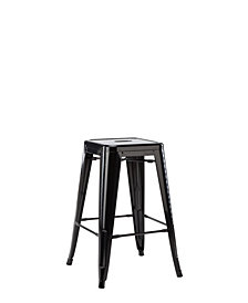 Stackable Indoor Outdoor Metal Bar Stool in Black