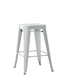 Stackable Indoor Outdoor Metal Bar Stool in White