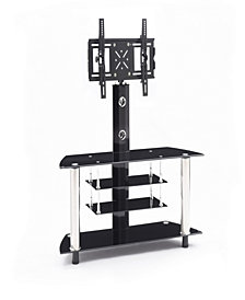 "47.2"" Wide Glass TV Stand with Swiveling Mount"