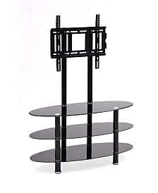 """49.2"""" Wide Glass TV Stand with Mount"""