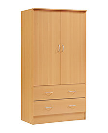 2-Door Armoire with 2-Drawers and Clothing Rod in Beech