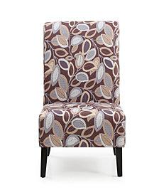 Fall Inspired Armless Accent Chair Dark Wooden Legs