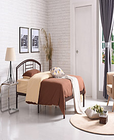 Complete Platform Queen-Size Bed with Headboard, Slats and Rails in Bronze