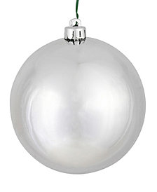 "Vickerman 4.75"" Silver Shiny Ball Christmas Ornament, 4 per Bag"