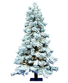 Vickerman 6' Flocked Spruce Artificial Christmas Tree with 722 PVC Tips and 300 Warm White Dura-Lit LED Lights