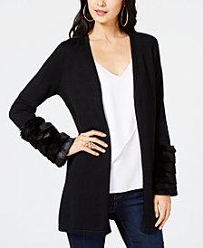 Thalia Sodi Faux-Fur Cuff Cardigan, Created for Macy's