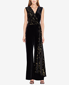 Tahari ASL Velvet Burnout Wide-Leg Jumpsuit