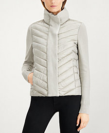 Calvin Klein Quilted Sweater-Trim Puffer Coat