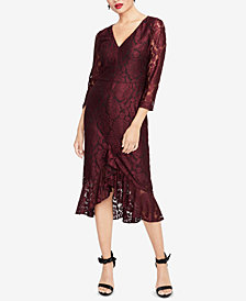RACHEL Rachel Roy Lace Flounce-Hem Midi Dress