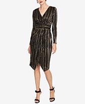 Rachel Roy Pleated Faux Wrap Dress