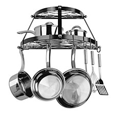 Black Enamel Double Shelf Wall Pot Rack