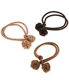 lonna & lilly 3-Pc. Set Double-Knot Ponytail Holders, Created for Macy's
