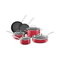 10-Piece KitchenAid Architect Non-Stick Pour & Strain Cookware Set (Red Velvet/Cocoa Silver)