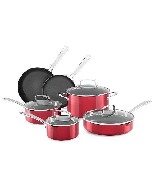 Architect® 10-Pc. Non-Stick Pour & Strain Cookware Set, Created for Macy\'s