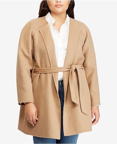9632ab12c72 Lauren Ralph Lauren Plus Size Belted Coat   Reviews - Jackets ...