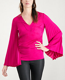 Trina Turk Pleated-Sleeve Top