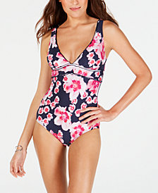 DKNY Scalloped Printed One-Piece Swimsuit, Created for Macy's
