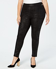 Plus Size Pull-On Skinny Embossed Pants