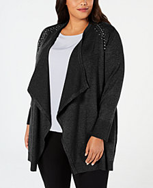 JM Collection Plus Size Studded Cardigan, Created for Macy's
