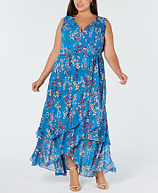 I.N.C. Plus Size Ruffle-Trim Wrap Maxi Dress, Created for Macy's
