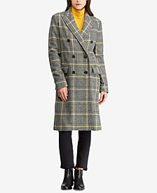 Ralph Lauren Petite Double-Breasted Plaid Trench Coat