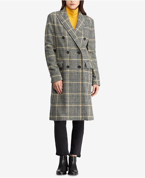 20332f6f436 ... Lauren Ralph Lauren Petite Double-Breasted Plaid Trench Coat ...