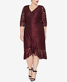 RACHEL Rachel Roy Plus Size Ruffle-Hem Lace Dress