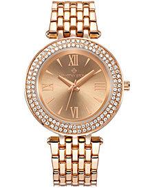 Womens Burst Roman Numeral Crystal Accented Boyfriend Bracelet Watch
