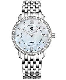 Womens Marquise Diamond Accented Swiss Quartz Bracelet Watch