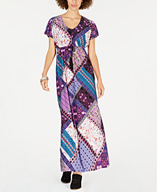 Style & Co Printed Tie-Waist Maxi Dress, Created for Macy's