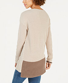 Style & Co Petite Colorblocked Tunic Sweater, Created for Macy's