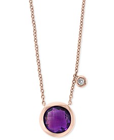 "EFFY® Amethyst (1-1/2 ct. t.w.) & Diamond Accent 18"" Pendant Necklace in 14k Rose Gold"