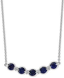 "EFFY® Sapphire (3/4 ct. t.w.) & Diamond Accent 18"" Pendant Necklace in 14k White Gold"