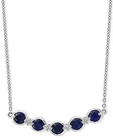 "EFFY® Sapphire (3/4 ct. t.w.) & Diamond Accent 18"" Pendant Necklace in 14k White Gold"