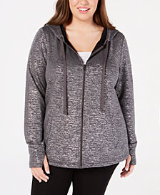 Ideology Plus Size Metallic Zip Hoodie, Created for Macy's