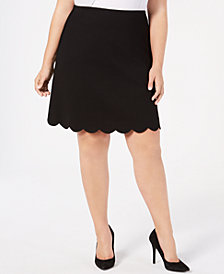 Soprano Trendy Plus Size Scalloped A-Line Skirt