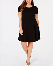 Soprano Trendy Plus Size Cap-Sleeve Skater Dress