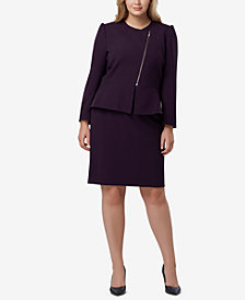 Tahari ASL Plus Size Asymmetrical Zip-Front Peplum Skirt Suit