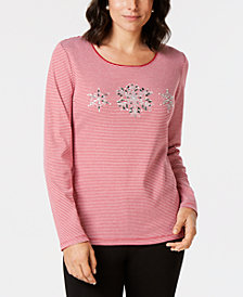 Karen Scott Cotton Beaded Snowflake T-Shirt, Created for Macy's