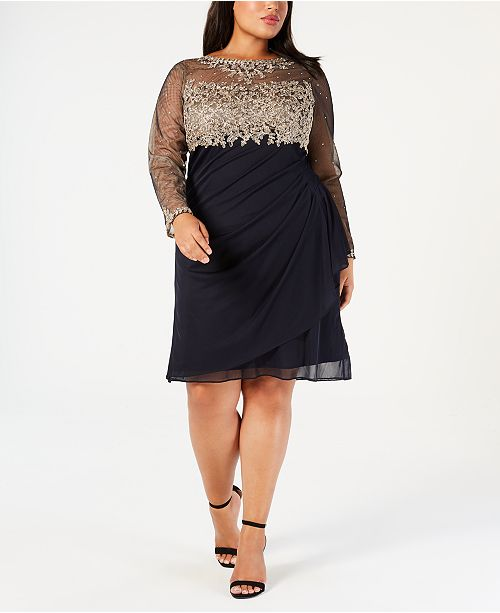 cef8d1a4770 XSCAPE Plus Size Embroidered Ruched Illusion Dress   Reviews ...