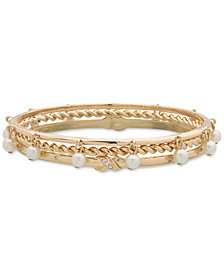 Anne Klein Gold-Tone 3-Pc. Set Pavé & Imitation Pearl Bangle Bracelets, Created for Macy's