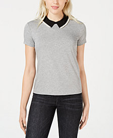 Maison Jules Faux-Pearl-Embellished Point-Collar Top, Created for Macy's