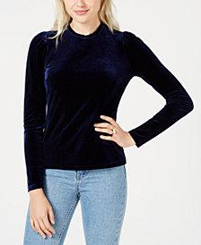 Maison Jules Velvet Puffed-Sleeve Top, Created for Macy's