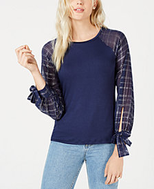 Maison Jules Plaid-Sleeve Contrast Top, Created for Macy's