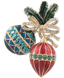 Anne Klein Gold-Tone Crystal & Stone Ornament Pin, Created for Macy's