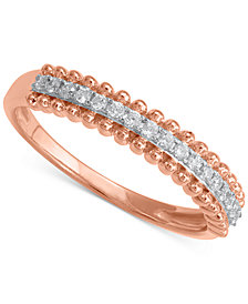 Diamond Beaded Band (1/6 ct.t .w.) in 14k Rose Gold